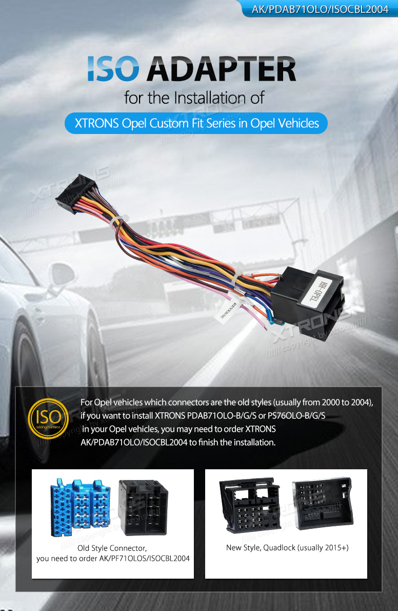 Iso Cable Wiring Harness For The Installation Xtrons Pdab71olo Opel Install B G S Or Ps76olo In Vehicles You May Need To Order Ak Isocbl2004 Finish