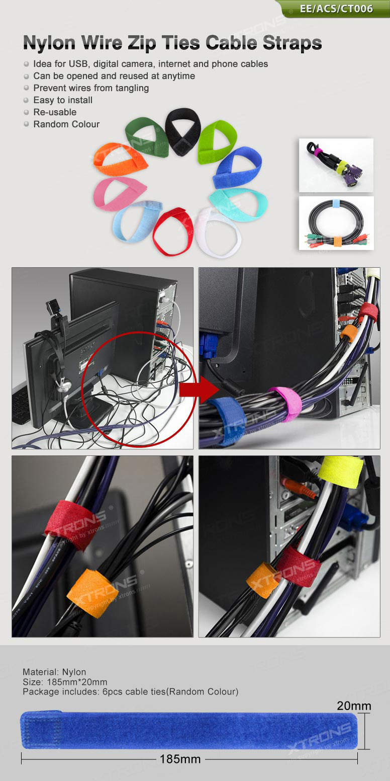 6PCS USB Network Cable Power Cord Wire Organizer Ties Straps adheres ...
