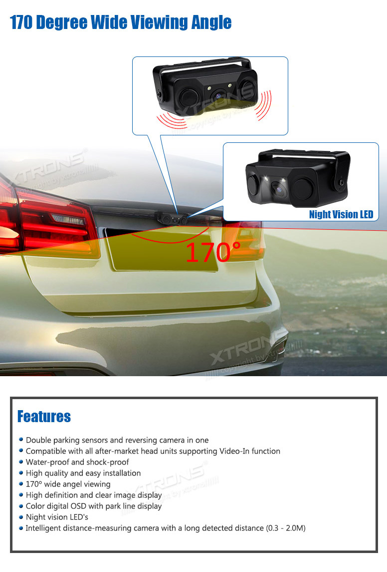 XTRONS 3 in 1 Camera with Sensor Wide Angle Reversing Camera with Inbuilt Parking Sensor