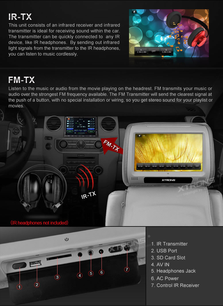 Xtrons 2x 9 Gray Car Headrest Monitors Dvd Player Usb Game Discs Ir Infrared Headphones Transmitter Circuit Shipping We Ship International Orders By Ups Or Dhl Directly From Our Hong Kong Warehouse It Normally Takes 3 5 Working Days To Reach The Recipient