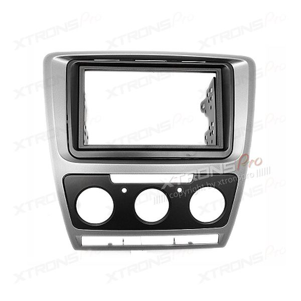 Double Din Car Stereo Radio Grey Fascia Panel Adapter Fitting Kit for SKODA Octavia 2008-2013 ( Manual Air-conditioning )