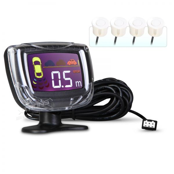 Intelligent Parking Assistant System with 4 White Ultrasonic Rear Sensors
