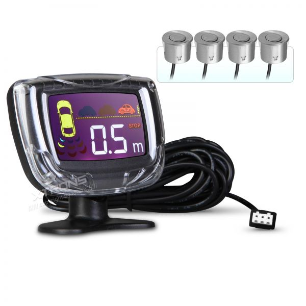 Intelligent Parking Assistant System with 4 Metallic Grey Ultrasonic Rear Sensors